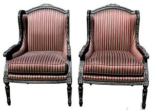 Vintage Pair Of Henredon Furniture Upholstered Wing Back Chairs