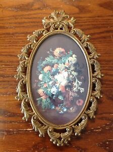 Vintage Brass Picture Frame Of Flowers Made In Italy 8 1 2 X 5 1 2