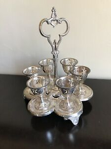 Antique Sexfoil 6 Egg Cup Cruet And Stand Silver Plated W English Registry Mark