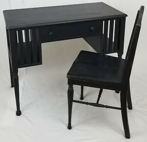 Vintage Mission Style Oak Wood Desk With Chair Arts Crafts Rustic Antique