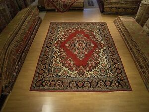 9 X 12 Hand Knotted Antique Persian Saruk Mahal Wool Rug Beautiful Warm Colors