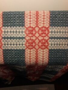 Antique Early Hand Woven Textile Jacquard Wool Linen Coverlet Blanket Cir 1900s
