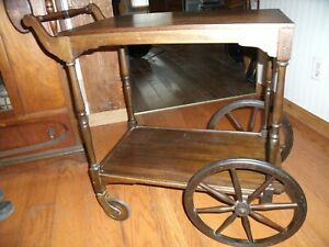 Darling Arts Crafts Country Style Serving Tea Bar Cart Table Glass Top