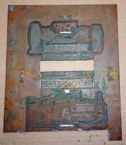 Vtg 1965 Copper Ford Pickup Truck Printing Plate Ad Antique Printing Block Ad 2