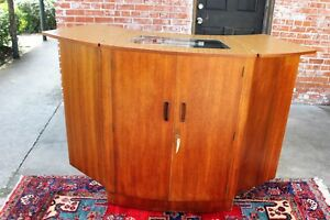Mid Century Teak Wood 2 Door Wine Bar With Light Drink Cabinet Furniture