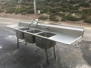 Stainless Steel 3 bay Commercial Sink 2 drain Boards 123 w X 29 deep X 44 h
