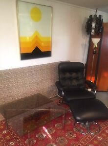 Rare Skippers Mobler Leather Lounge Chair Mid Century Danish Modern