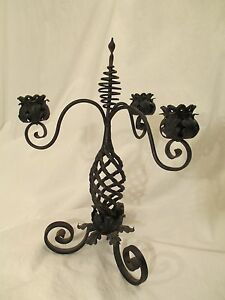 Twisted Iron Candelabra Exceptional Hand Wrought Bed Or Bath Garden Topiary