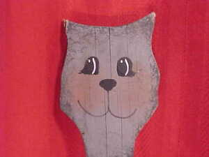 Folk Art Cat Painted On Antique Board Nice Paint Patina