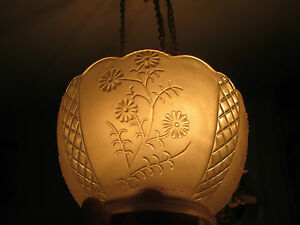 Gas Light Shades 3 Matching Floral Design Frosted Clear