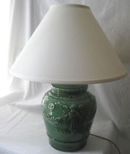 Antique Green Majolica Table Lamp With Angels