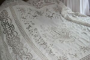 Antique French Embroidered Richelieu Bed Cover Tablecloth Curtain 100 83