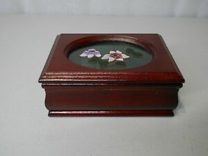Small Wooden Jewelry Box Red Wood And Soft Padding On Inside 5 5 X 4 X 2 25
