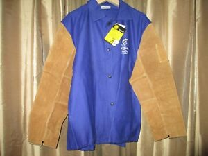 Black Stallion Hybrid 9 Oz Fr And Cowhide Welding Coat 30 Royal Blue brown Xl