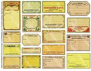 18 Druggist Labels Sticker Sheet Blank Apothecary Labels Pharmacy Decor