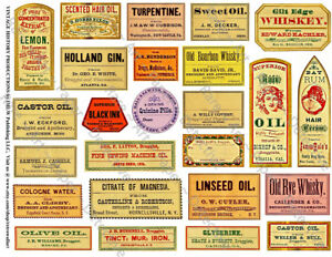 Apothecary Labels Sticker Sheet 25 Druggist Pharmacy Labels Bathroom Decor