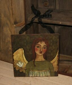 Angel Sign Picture Message Board Primitive French Country Garden Room Wall Decor
