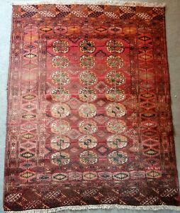 Old Bukhara Russian Hand Knotted Rug Area 60 Years Old
