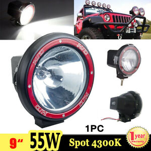 1x 9inch 55w Xenon Hid Work Light Spot Driving Fog Lamp 4300k Offroad Atv 4x4