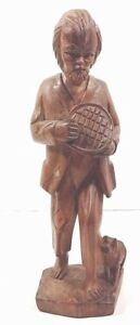 Antique Hand Carved Solid Wood Folk Art Man With Basket And Dog Statue