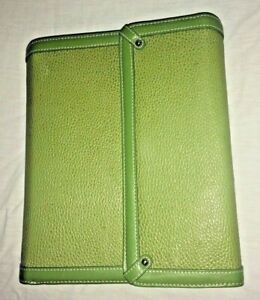 Franklin Covey Leather Planner Binder 7 Rings Euc Lime Green