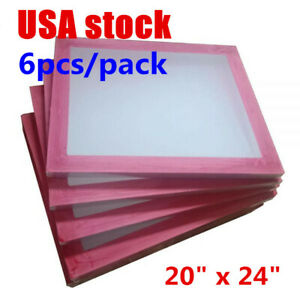 Usa 6pcs 20 X 24 Aluminum Silk Screen Printing Frame With 160 White Mesh