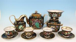 Rare Darte Freres Tea Set Floral Cabochon Jewels French Porcelain Old Paris