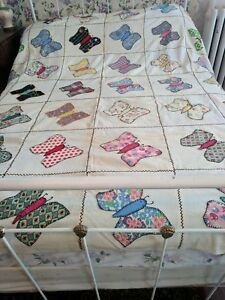 Vintage Appliqued Butterfly Quilt Top