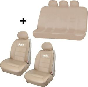2 Elite Beige Synthetic Leather Sideless Seat Covers Free Back Bench For Jeep