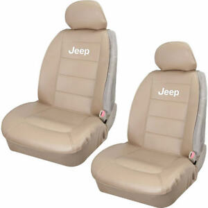 New Elite Style Sideless Synthetic Leather Front Beige Seat Covers For Jeep