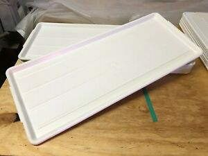 Lot Of 7 White Long Narrow Plastic Meat Case Food Prep Serving Platter Trays