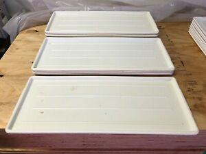 Lot Of 12 White Long Narrow Plastic Meat Case Food Prep Serving Platter Trays