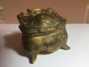 Antique Vintage Art Nouveau Metal Ring Box Wild Rose Wedding Set Xquisite