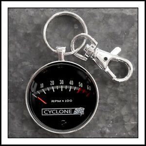Vintage Cyclone Tachometer Photo Keychain Ford Chevy Plymouth Dodge Gift