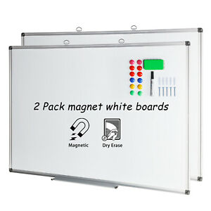 36x24 Magnetic Dry Erase Board Wall Mounted Aluminium Framed White Board 2 Pcs