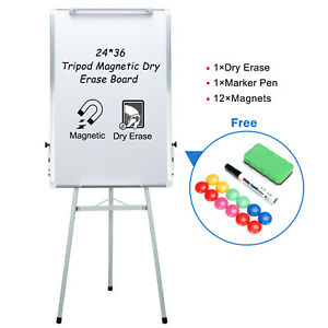 Magnetic Whiteboard Easel Tripod Dry Erase Board Flipchart Height Adjustable
