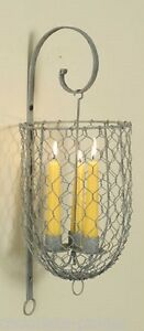 Galvanized Candle Holder Wall Sconce Primitive French Country Farmhouse Decor