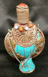 Collectible Handmade Brass Turquoise And Coral Inlaid Snuff Bottle Tibet