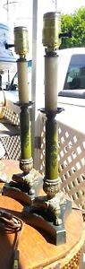 Vintage Pair Hairy Paw Tole Brass Candlestick Table Boudoir Lamps
