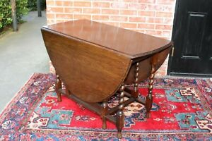 English Antique Oak Barley Twist Drop Leaf Table Living Room Furniture