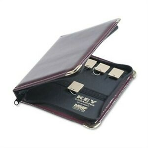 Portable Zippered Key Case 24 key Leather like Vinyl Burgundy 8 3 8 X 7
