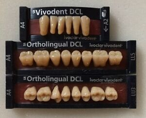 Ivoclar Vivadent Dcl Ortholingual 3 Cards Of A4 Teeth For Dental Lab Materials