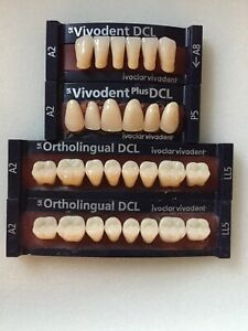 Ivoclar Vivadent Plus Dcl Ortholingual 4 Cards Of A2 Teeth Dental Lab Materials