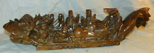 Vintage Carved Wood Foo Dog Chinese Dragon Boat 8 Figures Immortals 24 3 8