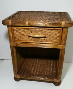 Vintage Wicker Rattan End Table With Drawer Mid Century