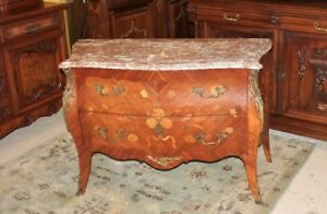 French Antique Inlaid Rosewood Bombay Style Chest Of Drawer Sideboard