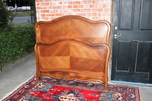 Antique French Solid Walnut Wood Louis Xv Full Size Double Bed With Rails