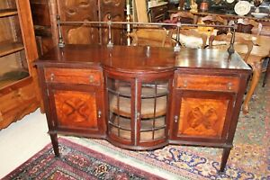 English Edwardian Antique Flamed Mahogany Sideboard Buffet Display Cabinet