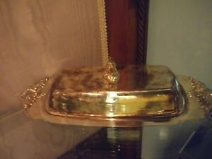 Wallace Baroque Covered Butter Dish Silver Plate Silverplate Glass Liner