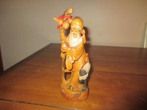 Old Hand Carved Wood Chinese Statue Immortal God Of Longevity Shou Lao Detailed